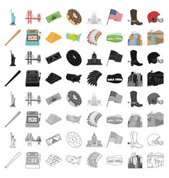 usa country set icons in cartoon style big vector image