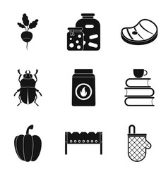 vegetarian icons set simple style vector image