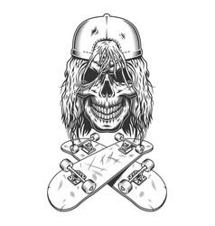 vintage monochrome skateboarder skull in cap vector image
