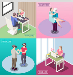 virtual love isometric design concept vector image