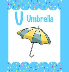 Vocabulary flashcard with word umbrella vector