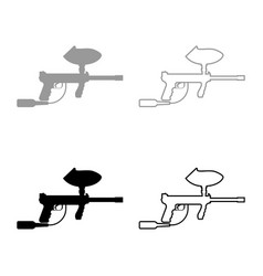 weapons for paintball icon set grey black color vector image