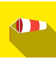Windsock inflated by wind icon flat style vector