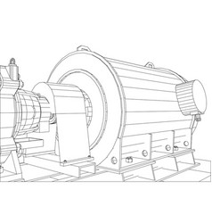 Wire-frame industrial equipment oil and gas pum vector