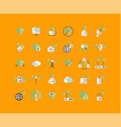 wireless network flat icon set vector image
