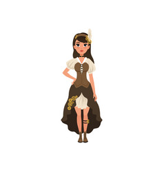 Woman in steampunk outfit young girl in blouse vector