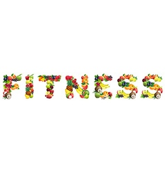 Word fitness composed different fruits vector