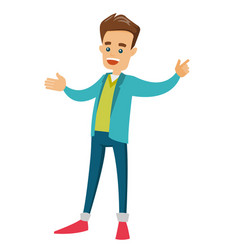 Young businessman standing with outstretched arms vector