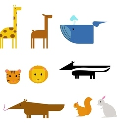 Cartoon animals zoo set wildlife flat vector image vector image