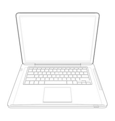 outline drawing laptop vector image vector image