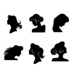 silhouettes of womens hairstyles vector image vector image