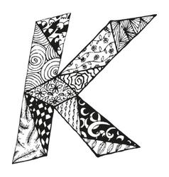 Vintage monogram k doodle alphabet character with vector