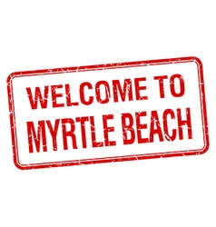 welcome to Myrtle Beach red grunge square stamp vector image vector image