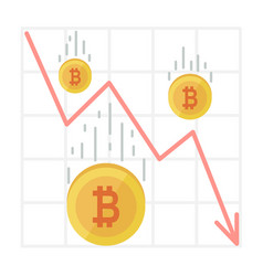 bitcoin fall chart cryptocurrency decline graph vector image vector image
