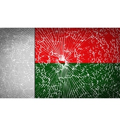 Flags Madagascar with broken glass texture vector image