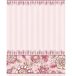 hand draw flowers on stripeed pink background vector image vector image