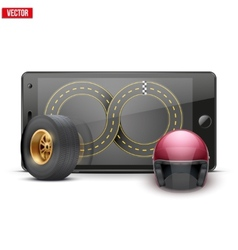 Mobile phone with racing wheel helmet and track on vector