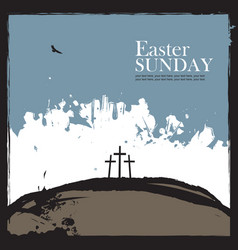 poster for easter with calvary and three crosses vector image vector image