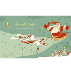 santa claus and white hare christmas card vector image vector image