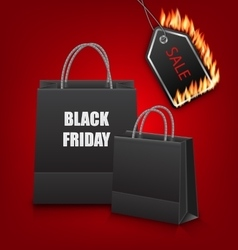 Shopping Paper Bags for Black Friday Sales and vector image