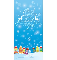 Winter holidays card with houses Handwritten text vector image vector image