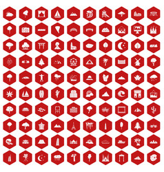 100 view icons hexagon red vector image vector image
