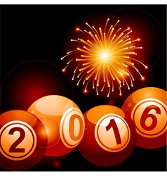 Bingo lottery balls 2016 and fireworks vector image