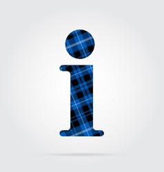 Blue black tartan icon - information symbol vector