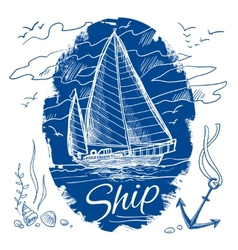 Nautical emblem with ship vector image vector image