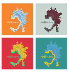 set of melbourne australia map in retro style vector image vector image