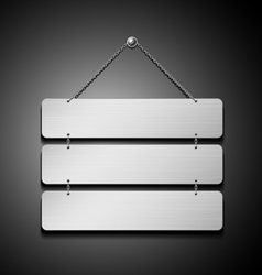 Stainless steel plate empty with chain vector image
