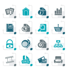stylized web site and internet icons vector image vector image