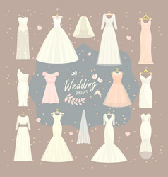 wedding dresses set bride and bridesmaid vector image vector image