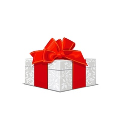 beautiful white wedding gift box with a red bow vector image