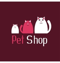 Cat sign for pet shop logo kitten and kitty vector image vector image