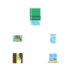 Flat icon glass set of glass balcony clean and vector