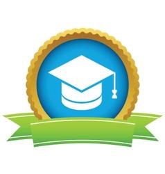 Gold graduate cap logo vector image
