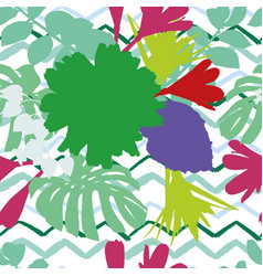 abstract color flowers leaves zigzag background vector image