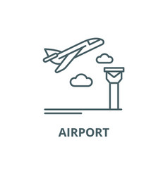 airport line icon airport outline sign vector image