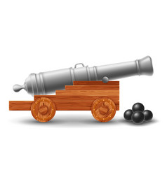 Ancient ship cannon with cannonballs vector
