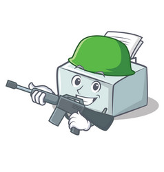 Army printer character cartoon style vector