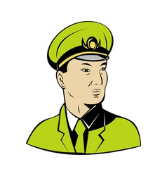 Asian military army officer vector