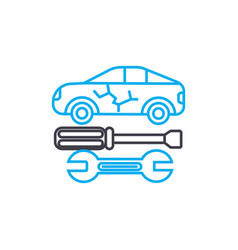 Auto bodywork thin line stroke icon auto vector