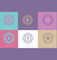 B letter pastel floral monogram lines logo design vector