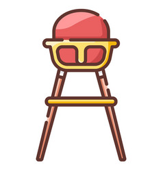 Baby high chair linecolor vector
