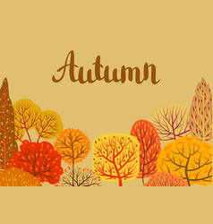Background with autumn stylized trees vector