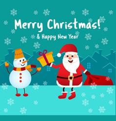 banner merry christmas santa claus gives a gift vector image