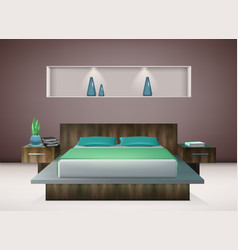 Bedroom interior realistic vector