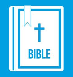Bible icon white vector
