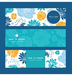 Blue and yellow flowersilhouettes vector